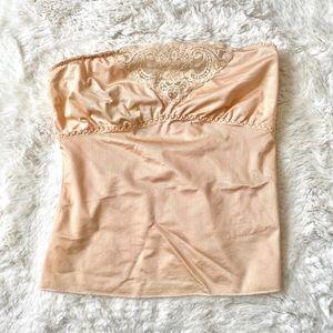 Vintage - Kayser Lace Trim Tube Top - Peach